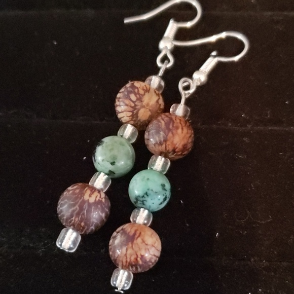 Moonlit Gem Designs Jewelry - NEW Acai Seed and Green Stone Beaded Earrings